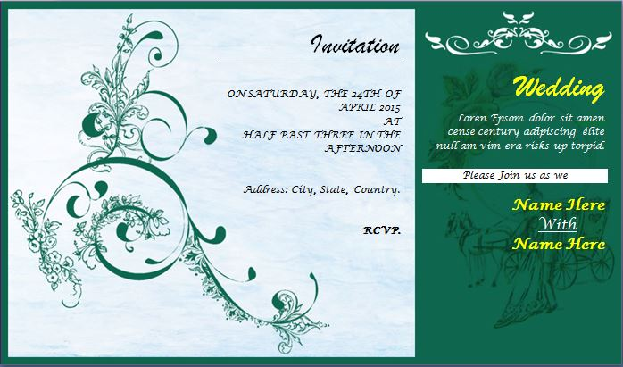 Wedding Invitation Card Template for MS word Word  Excel Templates - wedding card template