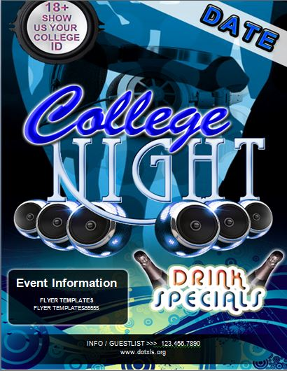 College Night Party Flyer Template Word  Excel Templates
