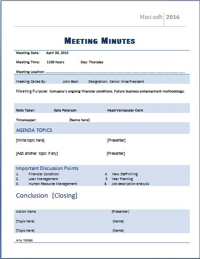 MS Word Formal Meeting Minutes Template Word \ Excel Templates - meeting minute format