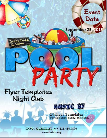 MS Word Pool Party Flyer Template Word  Excel Templates