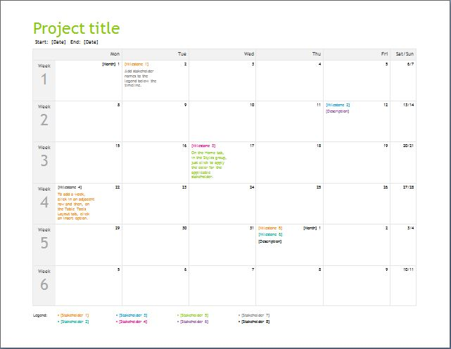 Project Planning Timeline Template Word  Excel Templates