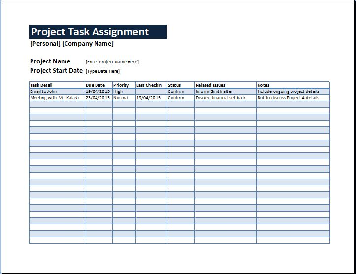 Project Task Assignment Management Sheet Word  Excel Templates