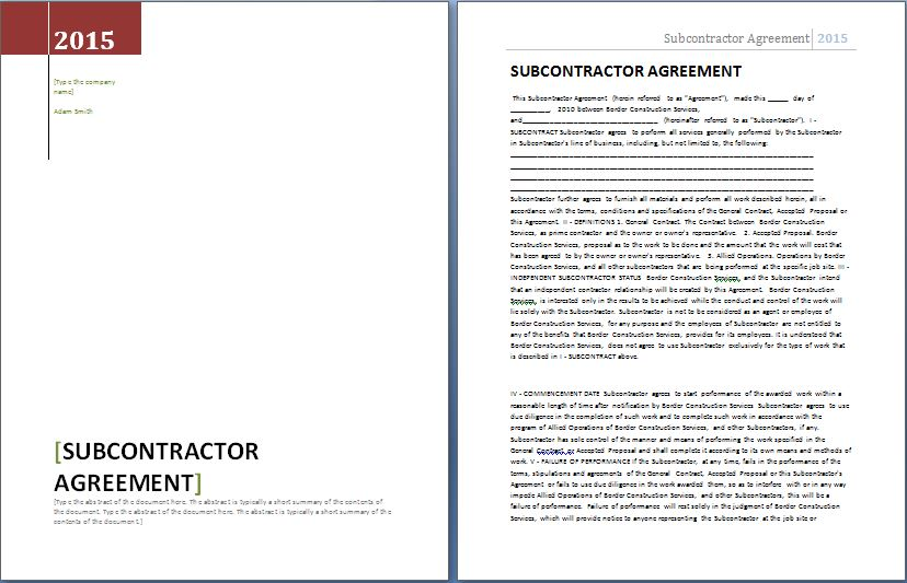 MS Word Formal Subcontractor Agreement Template Word \ Excel - subcontractor agreement template
