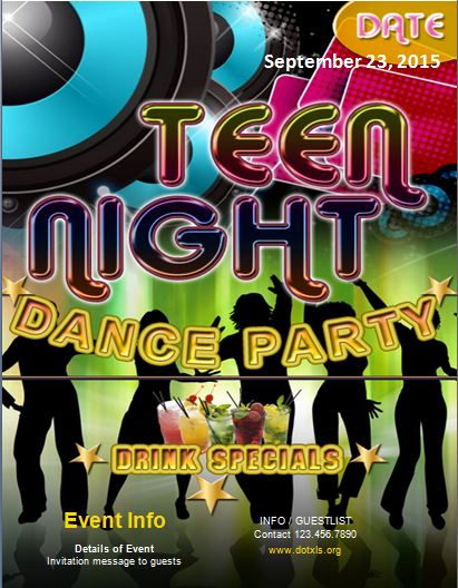 Teen Dance Party Flyer Template Word  Excel Templates