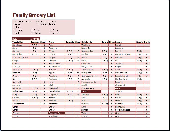 Family Grocery List Excel Format Template Word  Excel Templates - grocery list word