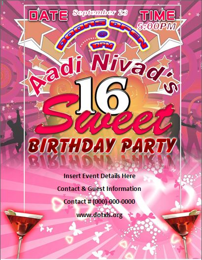 Sweet 16 Birthday Party Flyer Template Word  Excel Templates