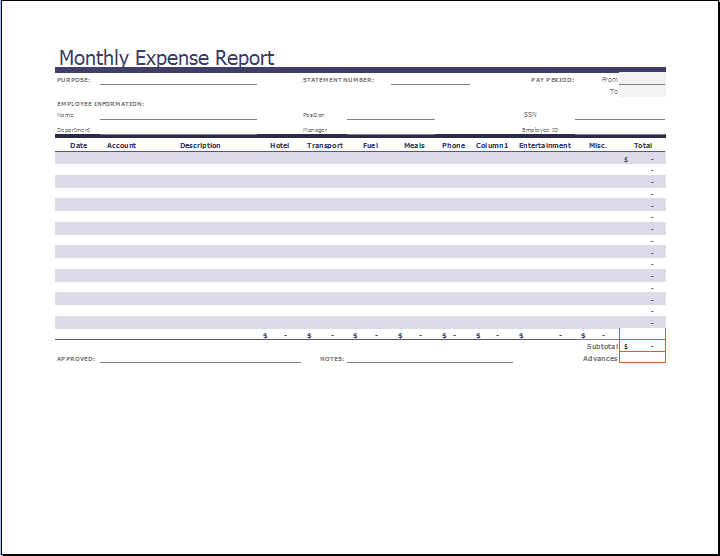 monthly business expense report template