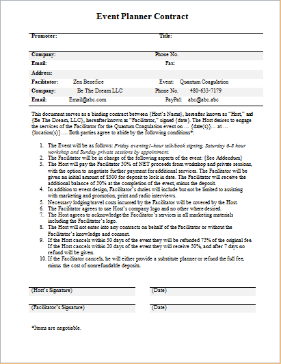 contract between event planner and the client