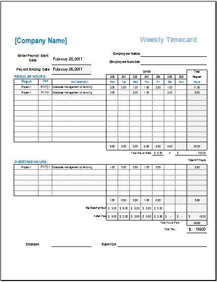 Employee Time Card Templates for MS Excel Word  Excel Templates