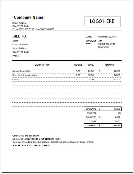 Hourly Service Invoice for Excel Format Word  Excel Templates