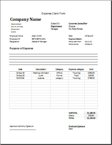 Expense Claim Form Template for Excel Word  Excel Templates