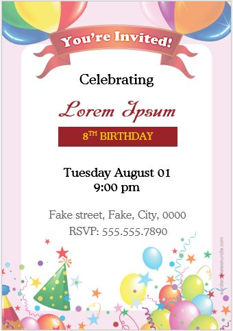 10 Birthday Invitation Cards for MS Word Users Word  Excel Templates