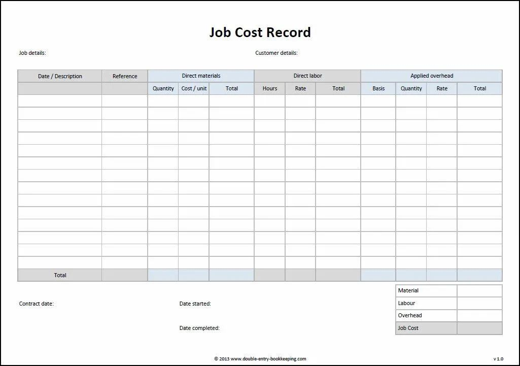 construction job costing spreadsheet free