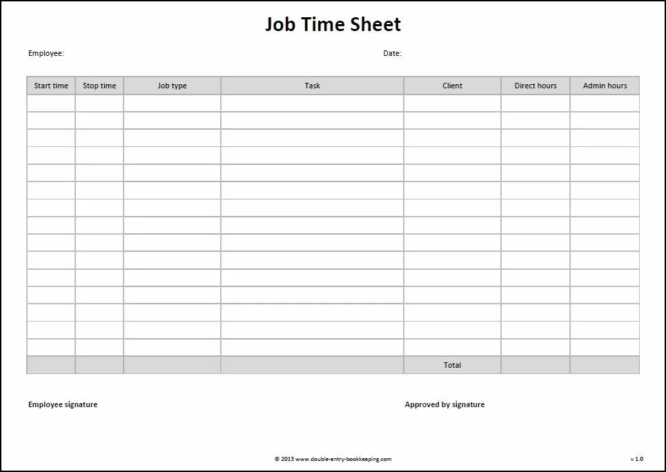Job Time Sheet Template Double Entry Bookkeeping - Daily Timesheet Template