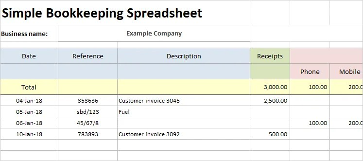 Simple Bookkeeping Spreadsheet Double Entry Bookkeeping
