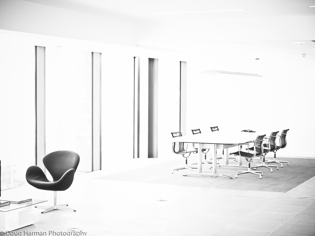 Zebedee Capital Office office refit architectural photograph in black and white for Ce8 Joinery Solutions Ltd