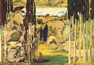 Ravel_Bakst_Daphnis_et_Chloë_Set_Act_II_1912