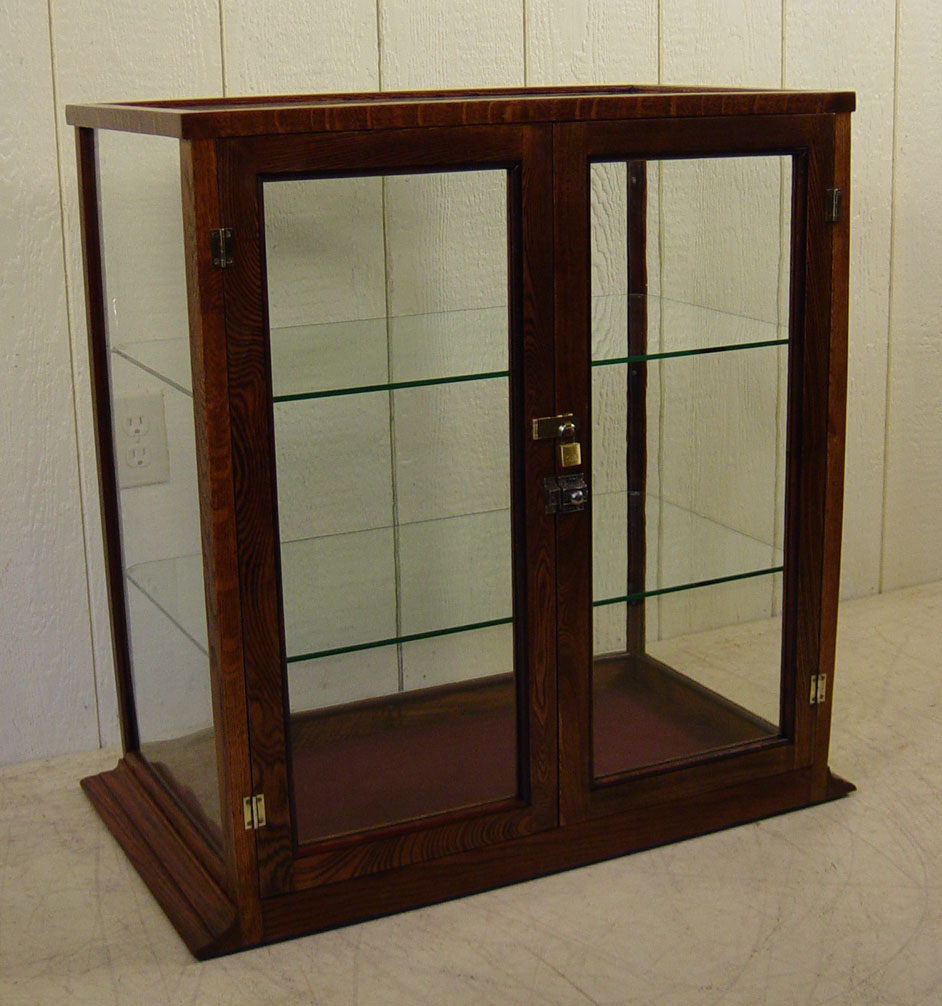 Country Store Oak Counter Display Cabinet