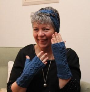 Mom enjoying her handknits