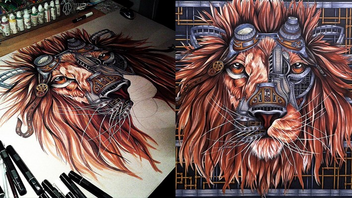Sculpture Hd Wallpapers Steampunk Lion Drawing By Paula Duta