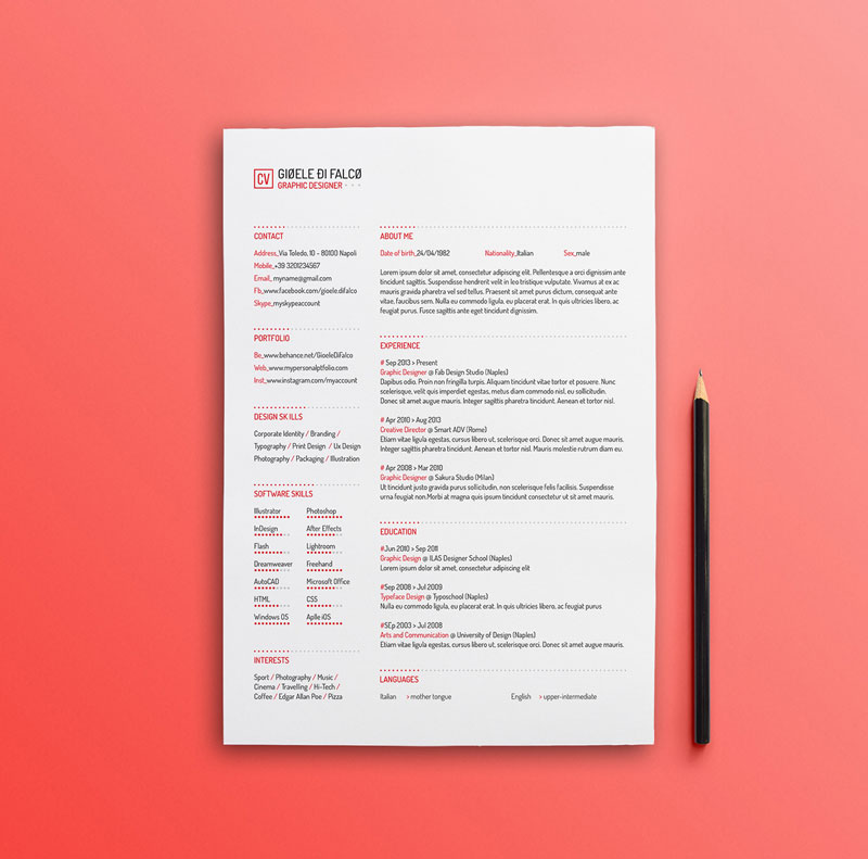 best design free cv resume template