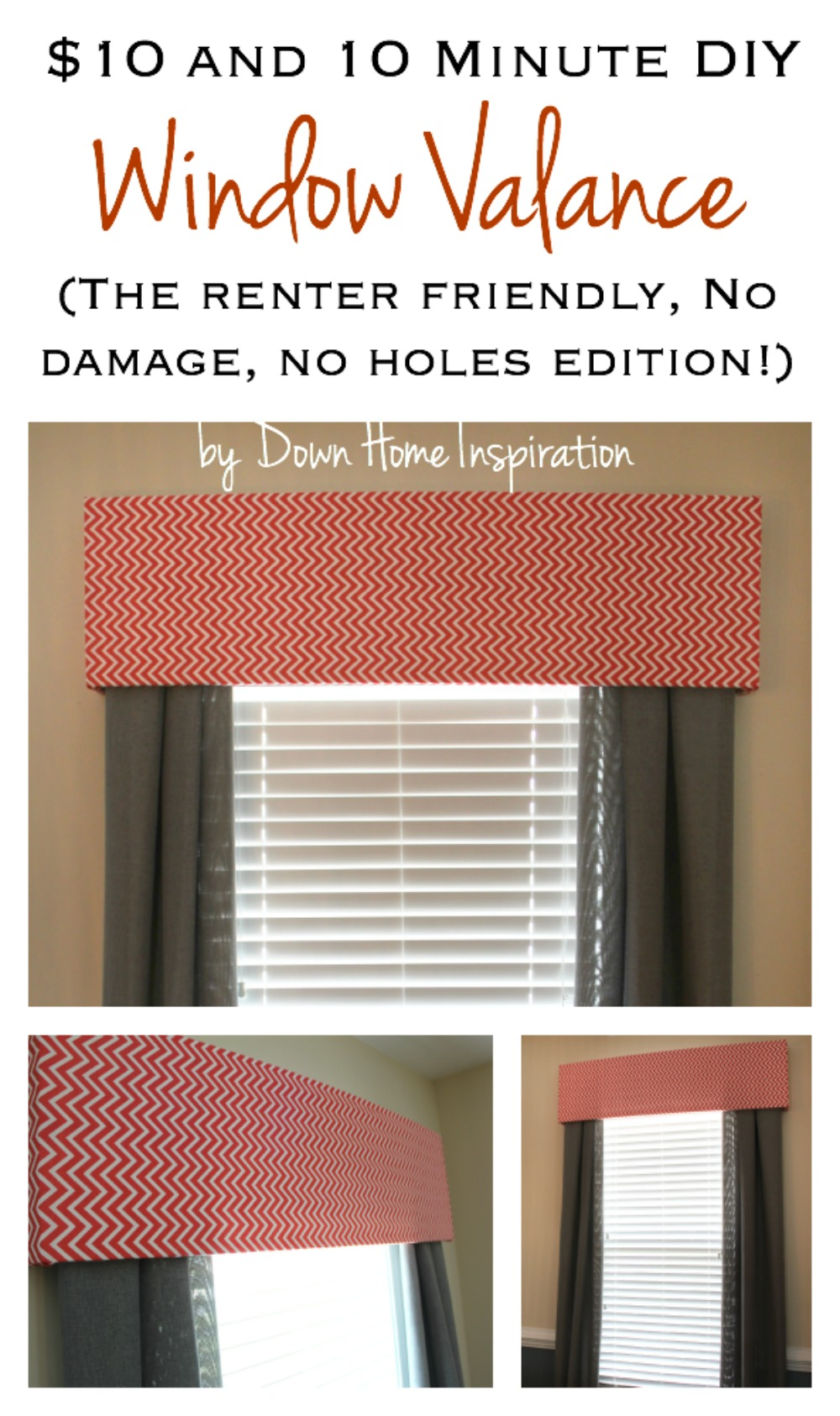 Renter friendly no holes no damage 10 and 10 minute diy window valance down home inspiration - Diy kitchen curtain ideas ...