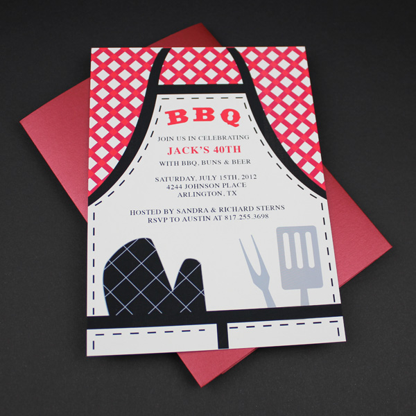 Invitation Template \u2013 BBQ Apron Invitation \u2013 Download  Print