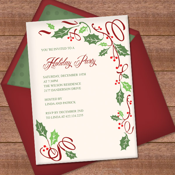 Christmas Invitation Template with Holly Border Design \u2013 Download