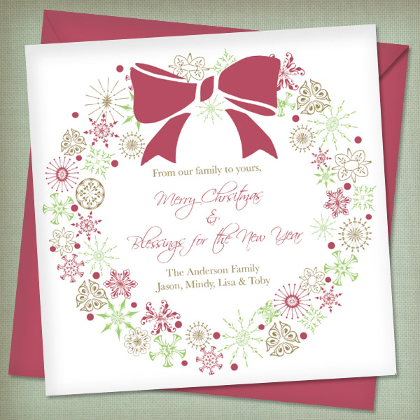 Christmas Invitation Templates with Wreath \u2013 Download  Print