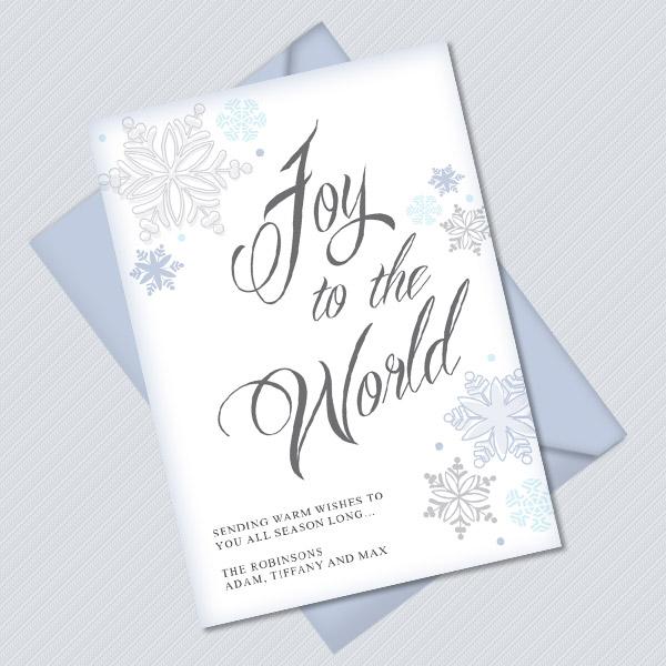 Joy to the World Printable Christmas Card Template \u2013 Download  Print - printable christmas card templates