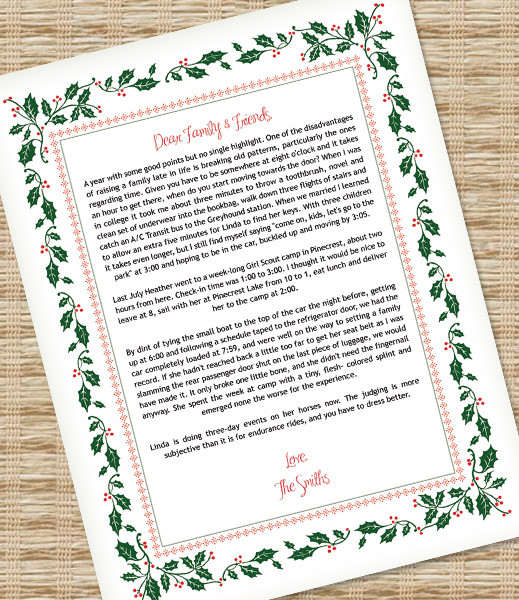 Christmas Letter Template with Holly Border \u2013 Download  Print - christmas letter templates