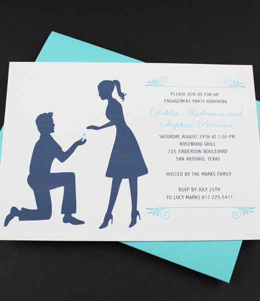 Engagement Party Invitation Template Silhouette Couple \u2013 Download