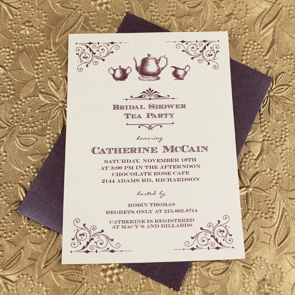 Vintage Bridal Shower Tea Party Invitation Template \u2013 Download  Print