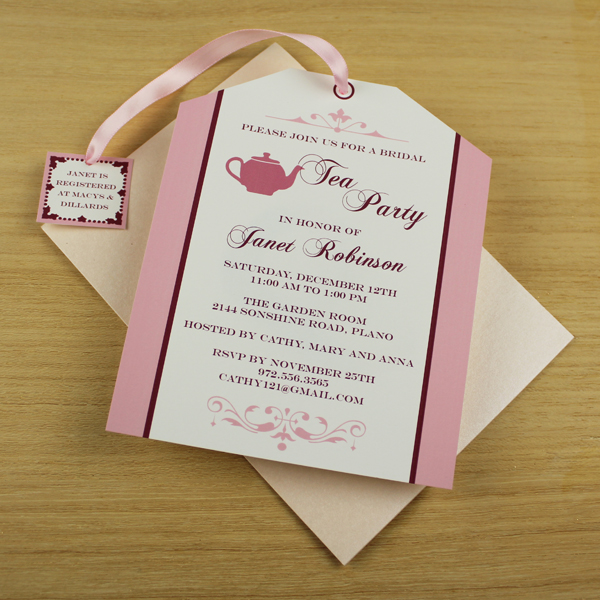 Tea Party Invitation Template Tea Bag Cutout \u2013 Download  Print