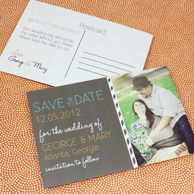 Save the Date Postcard Template with Photo  Chalkboard Type - save date postcard