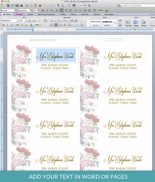 Red Poppy Address Label Template \u2013 Download  Print