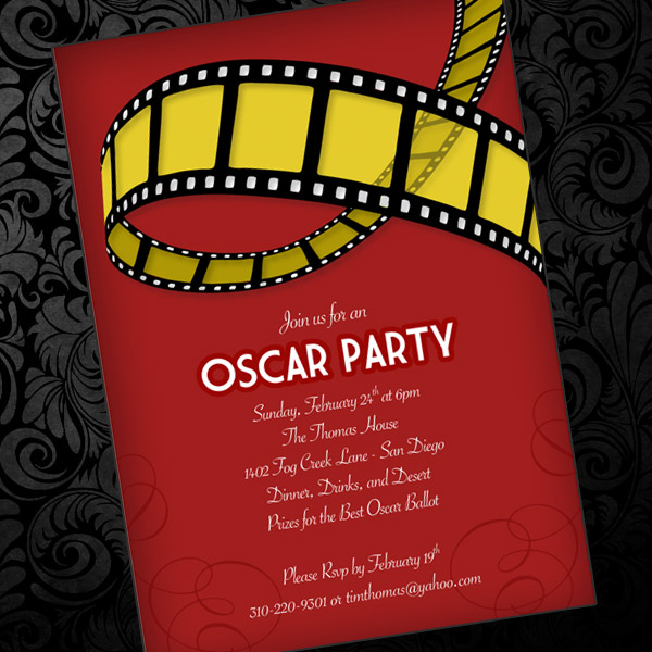 Oscar Party Invitation Template \u2013 Download  Print