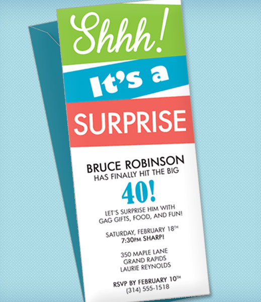 Surprise Party Invitation Template \u2013 Download  Print - birthday party card template