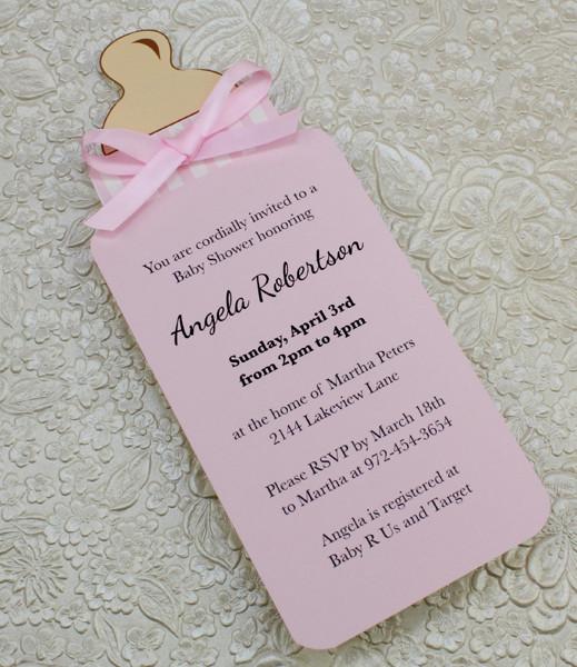 Baby Bottle Girl Shower Invitation Template \u2013 Download  Print