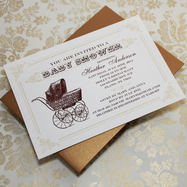 Vintage Buggy Baby Shower Invitation Template \u2013 Download  Print - vintage invitation template