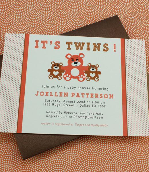 Baby Shower Invitation Template It\u0027s Twins! \u2013 Download  Print