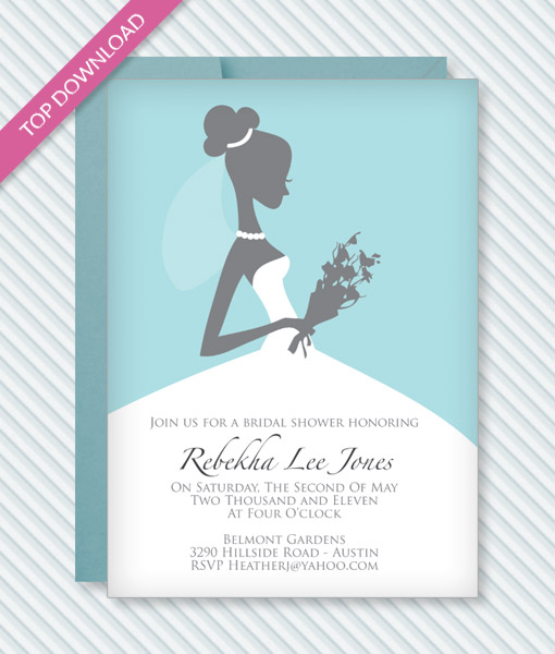 Bridal Shower Invitation Template \u2013 Download  Print