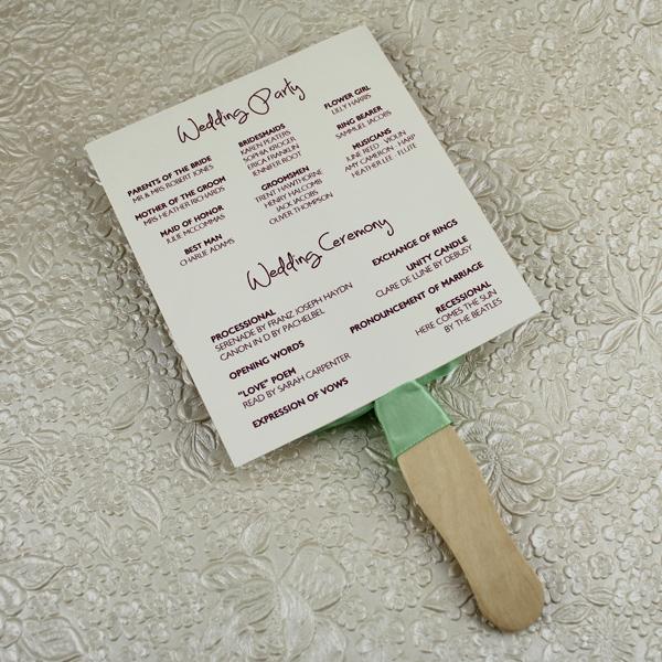Wedding Program Paddle Fan Template \u2013 Matelasse Design \u2013 Download