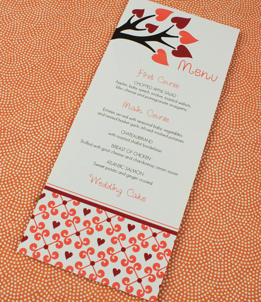 Fall Wedding Menu Template with Heart Tree \u2013 Download  Print - wedding menu template