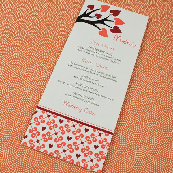 Fall Wedding Menu Template with Heart Tree \u2013 Download  Print
