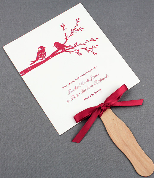 Wedding Fan Programs Template with Birds \u2013 Download  Print