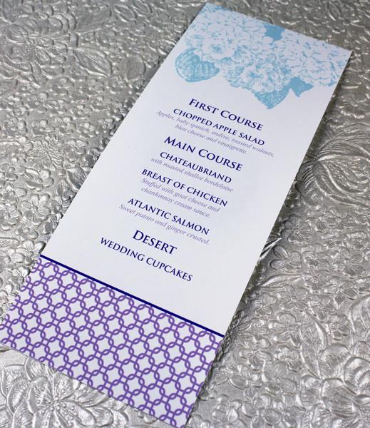 Hydrangea Wedding Menu Template \u2013 Download  Print - wedding menu template
