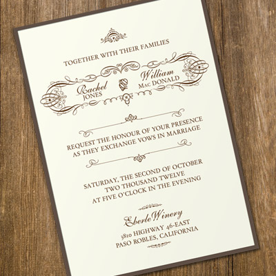 Invitation Template with Vintage Typography \u2013 Download  Print - vintage invitation template