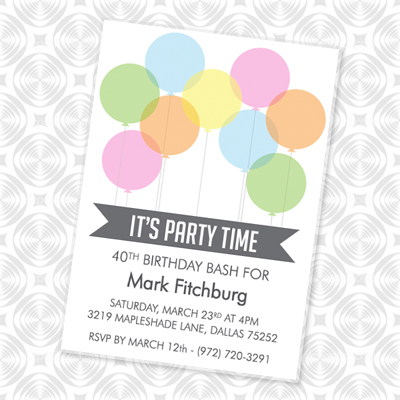 It\u0027s Party Time Invitation with Balloons \u2013 Download  Print