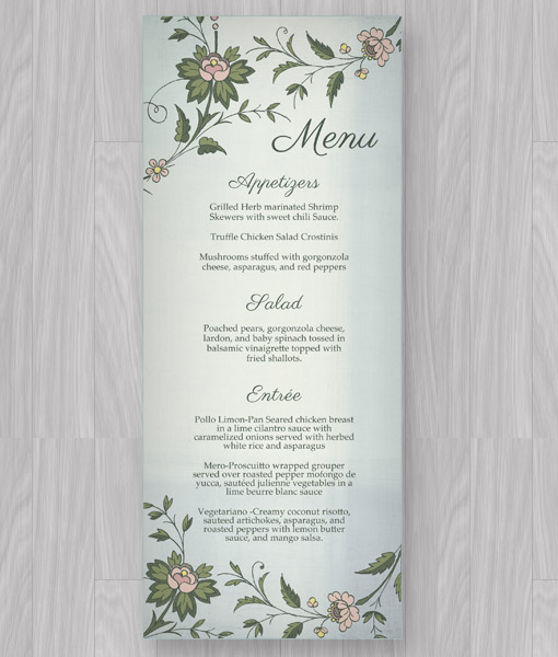 Watercolor Flowers Menu Template \u2013 Download  Print - event menu template